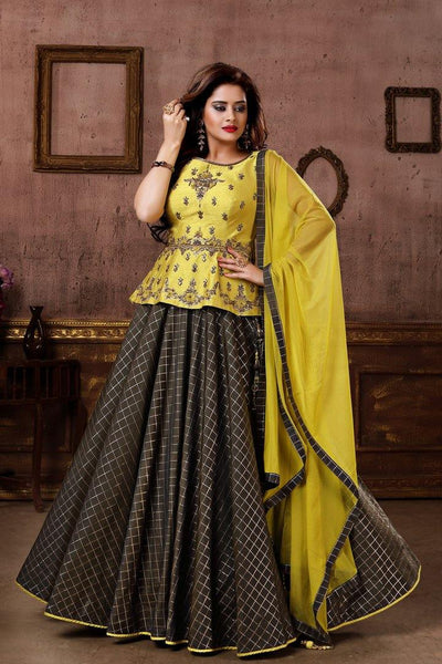 Yellow and Grey Zardosi and Kundan Work Peplum Styled Crop Top Lehenga - Model 1