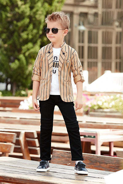 White T-shirt with Striped Light Brown Blazer and Black Pant Set for Boys - View 1