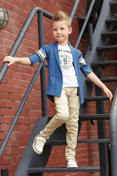 White T-Shirt with Knitted Blue Blazer and Beige Pant Set for Boys - View 1