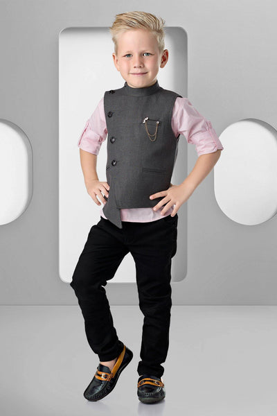 Pink Shirt With Grey Waist Coat and Black Pant Set for Boys  - View 1