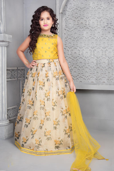 Yellow And Cream Zardosi and Floral Printed Lehenga Choli for Girls