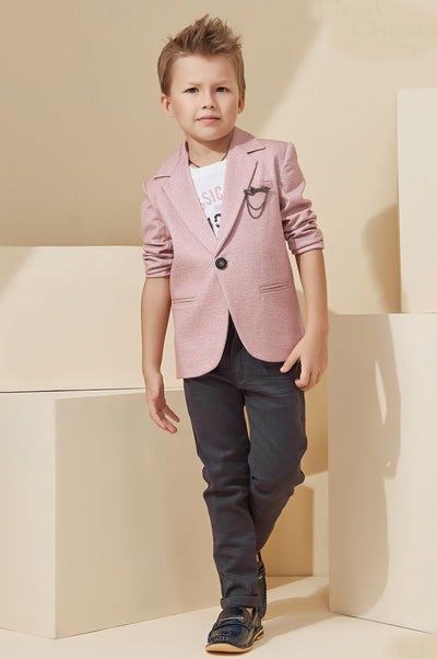 White and Grey with Peach Waist Coat and Pant Set for Boys - 1
