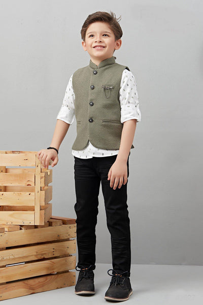 White with Olive Green Waist Coat and Black Pant Set for Boys - 1