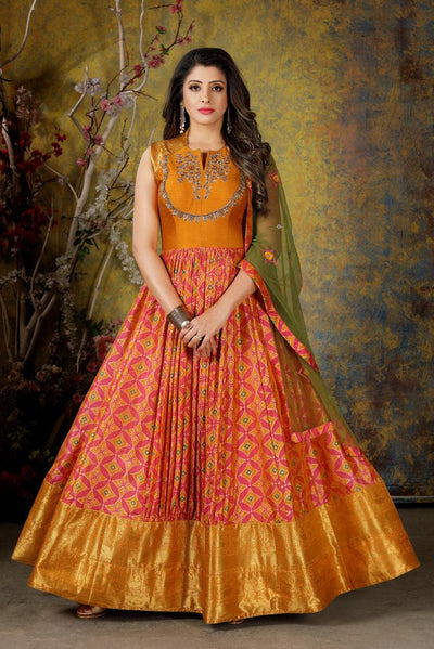 Orange and Pink Beads and Patola Print Anarkali Suit - Model 1
