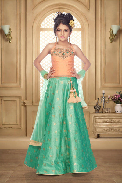 Peach and Firozi With Zardosi, Gold Foil Print Lehenga Choli for Girls - View 1