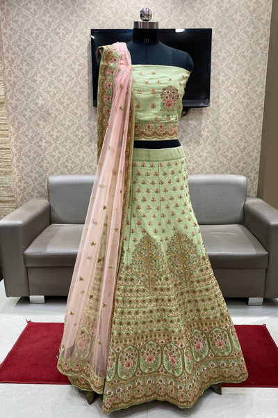 Pastel Green Aari and Stone Work Semi Stitched Lehenga