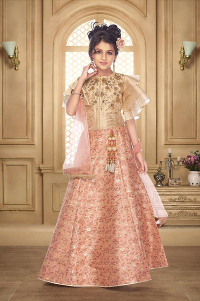 Peach and Golden Zardosi, Stone and Thread Lehenga Choli for Girls - View 1