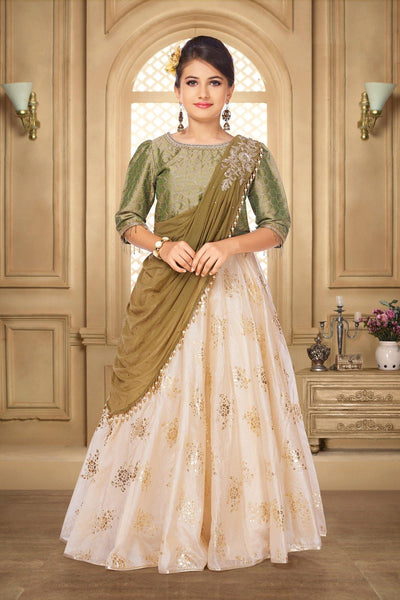 Olive Green and Cream Bead, Foil Print Saree Styled Lehenga for Girls - View 1