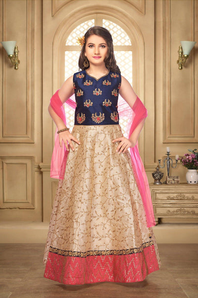 Navy Blue and Beige Sequins, and Thread Lehenga Choli for Girls - View 1