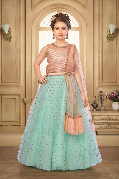Peach and Sea Green Lace and Sequins Lehenga Choli for Girls - View1
