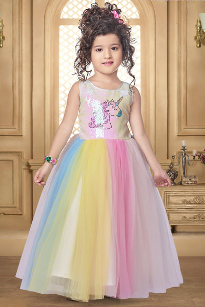 Multicolour Digital Printed and Sequins Work Unicorn Party Gown for Girls