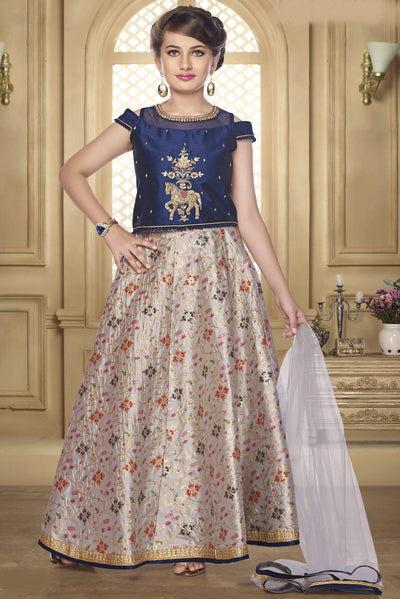 Navy Blue and Light Grey Zardosi Lehenga Choli for Girls