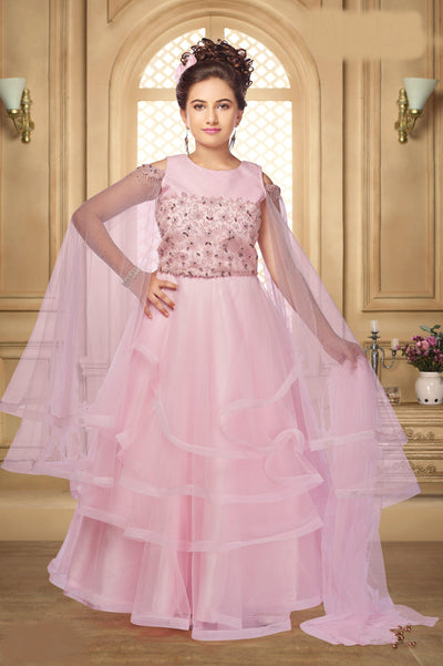 Baby Pink Stone and Sequins Work Partywear Lehenga Choli for Girls