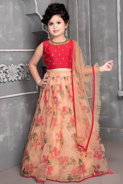 Red with Peach Mirror and Floral Printed Lehenga Choli For Girls - View 1