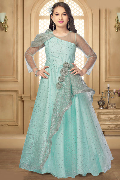 Apple Green Sequins and Shimmer Featured Long Party Gown for Girls