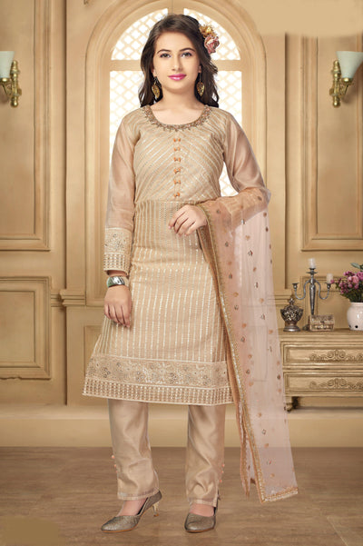 Cream Zardosi and Partywear Salwar Suit for Girls