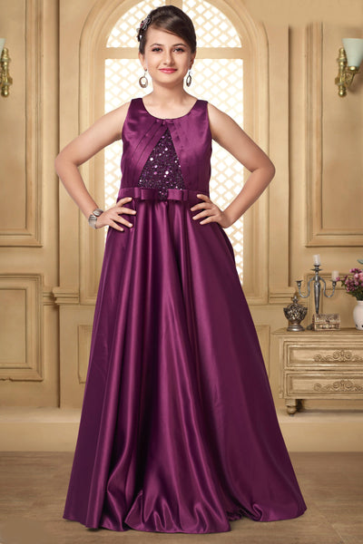 Wine Hued Sequins Floor Length Party Gown for Girls