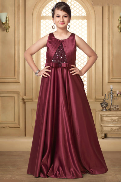 Maroon Hued Sequins Floor Length Party Gown for Girls - 1
