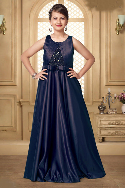 Navy Blue Hued Sequins Floor Length Party Gown for Girls - 1