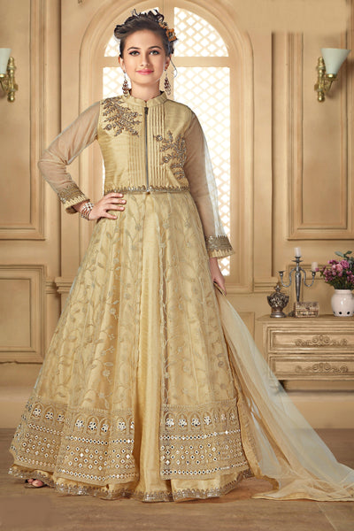 Golden  Zardosi and Embroidery Work Lehenga Choli for Girls