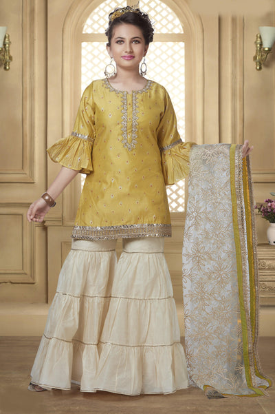 Yellow and Cream Pearl Work Girls Sharara Suit Set