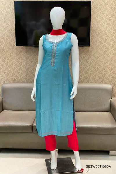 Light Blue and Red Sequins Work Straight Cut Salwar Suit - View 1