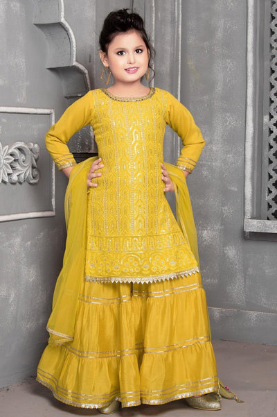 Mustard Yellow Thread Embroidered Girls Sharara Suit Set