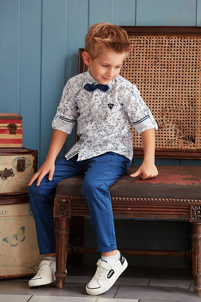White and Blue Printed Shirt and Pant Set For Boys - View 1