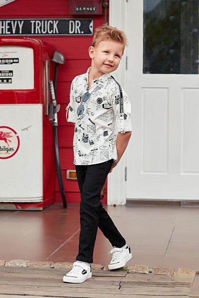 White and Black Printed Shirt and Pant Set For Boys - View 1
