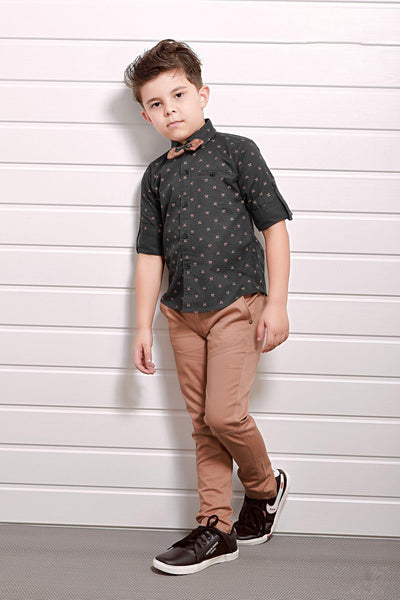 Dark Grey and Brown Printed Shirt and Pant Set For Boys - View 1