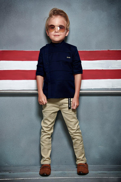 Navy Blue and Beige Shirt and Pant Set For Boys  - View 1