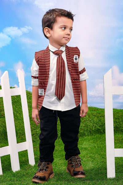 White With Red Waist Coat, Striped Tie and Black Pant Set for Boys - View 1