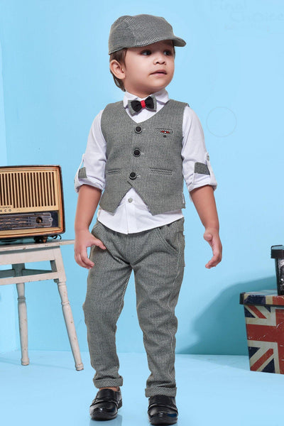 White and Grey Small Checked Waist Coat and Pant Set for Boys - 1