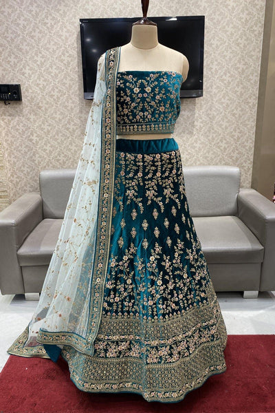 Peacock Green Aari, Threadwork and Stonework Semi-Stitched Designer Bridal Lehenga - View 1