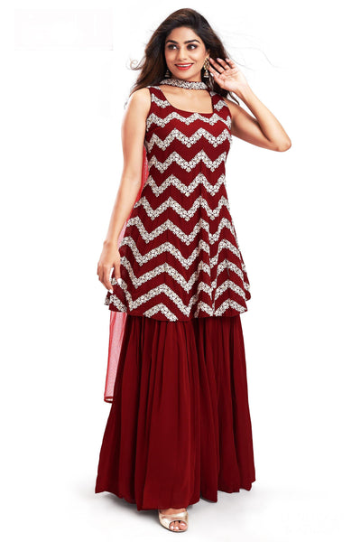 Maroon Sequins and Threadwork Sharara Suit Set - 1