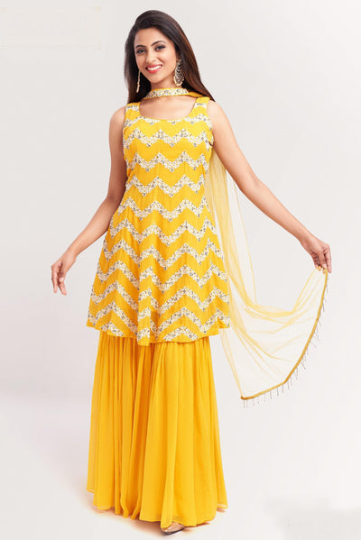 Yellow Sequins and Threadwork Sharara Suit Set - 1
