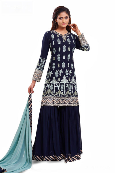 Navy Blue  Lucknowi Chikan work with Pastel Green Dupatta Sharara Suit - 1