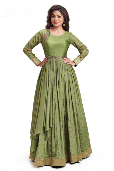 Olive Green Zardosi Work Floor Length Anarkali Gown with Belt - 1