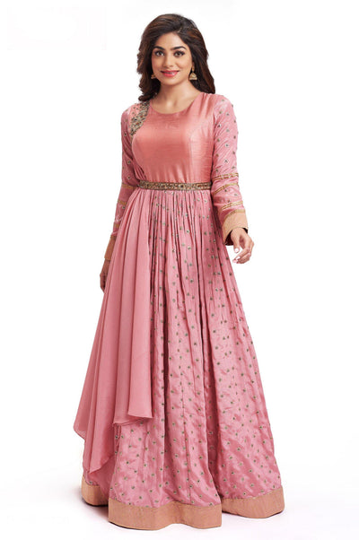 Peach Zardosi Work Floor Length Anarkali Gown with Belt - 1