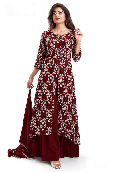 Maroon Lucknowi work Salwar Suit with Palazzo Pants - 1