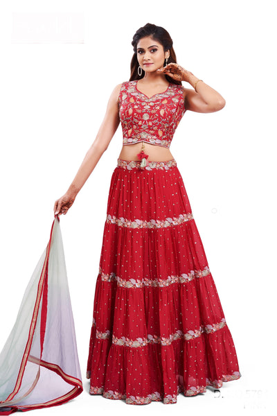 Rani Pink Embroidery and Sequins work Crop Top Lehenga - 1