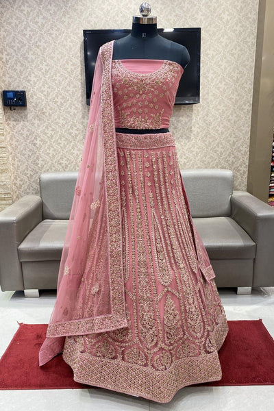 Onion Pink Thread and Stonework Semi-Stitched Designer Bridal Lehenga - 1