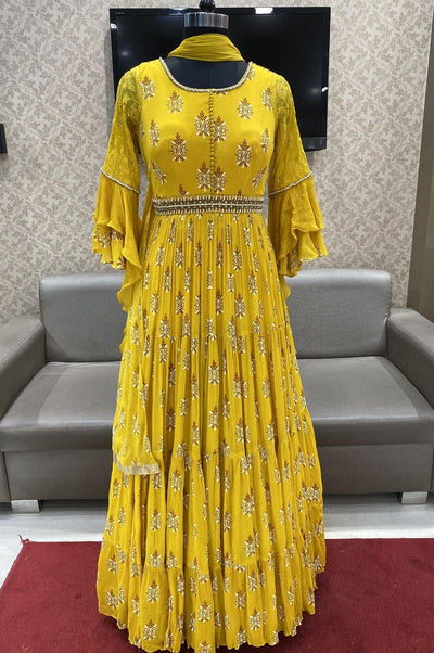 Yellow Floor Length Anarkali with Bell Sleeves - 1
