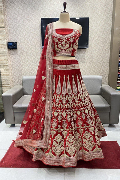 Crimson Red Sequins Aari and Threadwork Semi-Stitched Designer Bridal Lehenga - 1