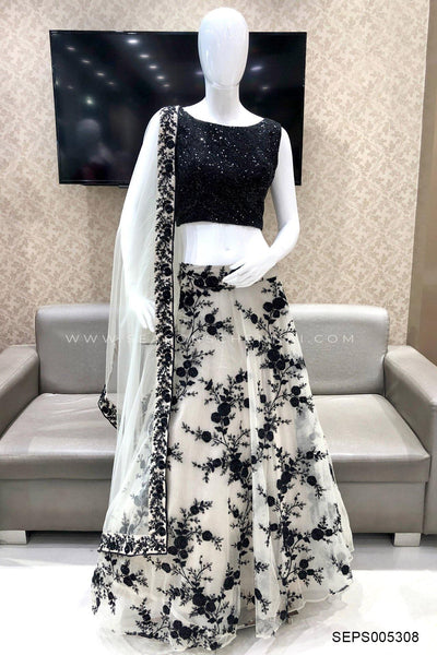 Black and Light Grey Sequins and Threadwork Crop Top Lehenga - View 1