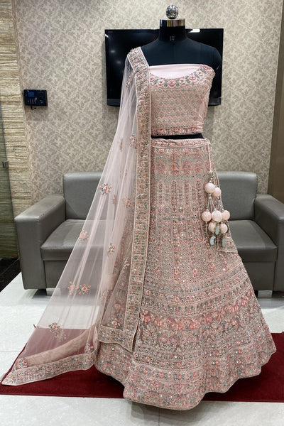 Pink Thread Mirror and Stonework Semi-Stitched Designer Bridal Lehenga - 1
