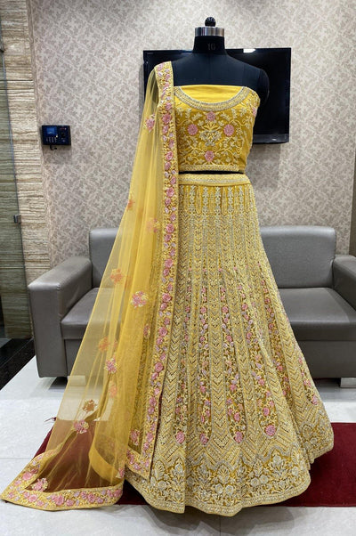 Yellow Stone, Embroidery and Threadwork Semi-Stitched Designer Bridal Lehenga - View 1