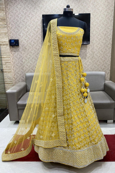 Yellow Stone and Thread work Semi-Stitched Designer Bridal Lehenga - View 1