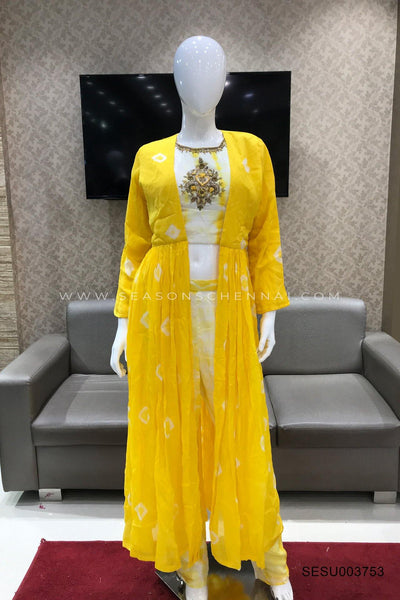 Yellow Beads and Bandhani Overcoat Styled Straight Cut Salwar Suit - View 1