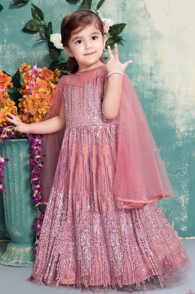 Onion Pink Sequins Work Long Party Gown for Girls -View 1